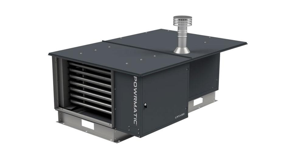 Outdoor warm air heating unit for ductwork connection