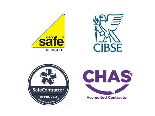 Gas safe register, CIBSE, SafeContractor Approved and CHAS Accredited contractor logos
